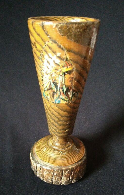 "Antique Indian Chief Souvenir 6"" Bark Weird Wood Glass Harrison Maine"