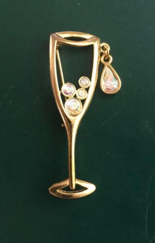 Vtg LIA Pin Brooch Glass of Champagne AB Rhinestone Bubbles 1 Dangle Gold Tone