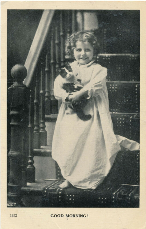 """1909 Little Girl in Nightie with Kitty Cat """"Good Morning"""" Photo Postcard"""