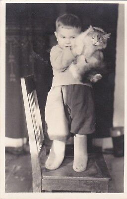 1950s Cute little boy with cat on the chair hisses fashion Russian Soviet photo