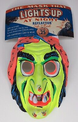 RARE Vintage 1960s Star Band Co Halloween Witch Reflector Mask Old Store
