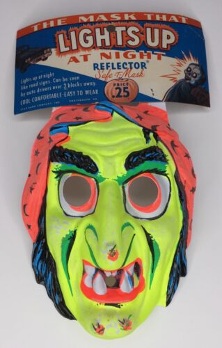 RARE Vintage 1960s Star Band Co Halloween Witch Reflector Mask Old Store Stock