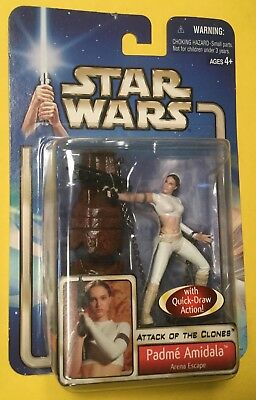 Star Wars Padme Amidala Arena Escape Action figure Attack of Clones Hasbro 2002 (Padme Lightsaber)