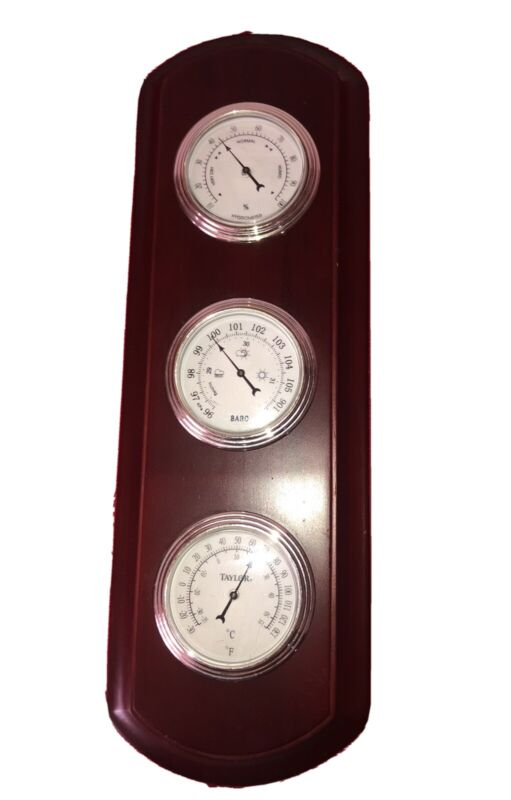 """14"""" WOOD WALL 3 DIAL WEATHER STATION THERMOMETER BAROMETER HYGROMETER TAYLOR"""