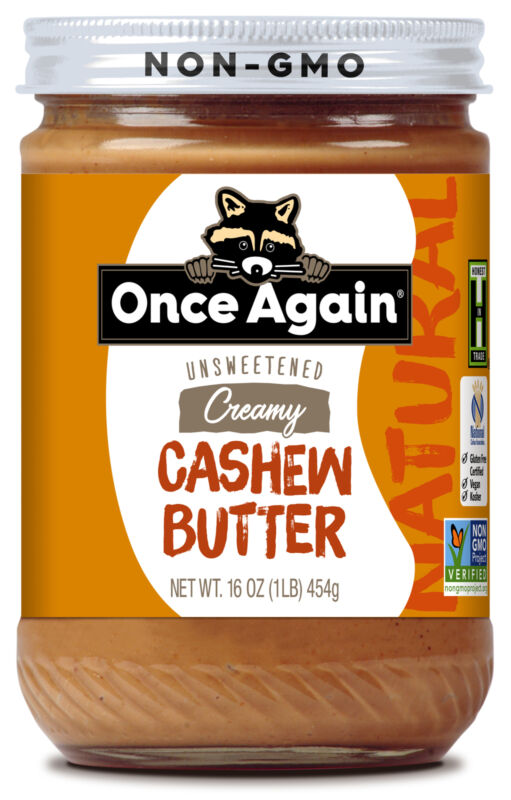 Once Again Creamy Cashew Butter, Unsweetened, 16oz Jar