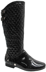NEW LADIES QUILTED BIKER BUCKLE KNEE LENGTH LOW HEEL LONG PADDED BOOTS UK SZ 3-8