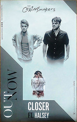 The Chainsmokers Halsey Closer 2016 Ltd Ed Rare Poster  Free Dance Pop Poster