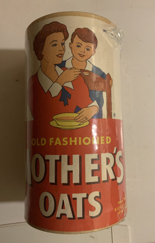 Vintage 1950s Old Fashioned Mother's Oats Carton NOS Unopened Full Cereal 2 Lbs