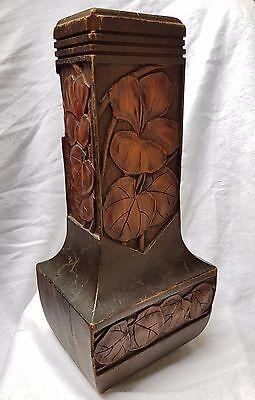"""Jugendstil Art Nouveau Holz Vase / Trockenblumenvase """"Heinrich Cramer"""", um 1910"""