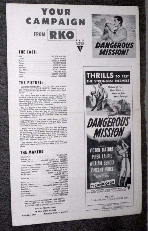 DANGEROUS MISSION original RKO movie pressbook VICTOR MATURE/PIPER LAURIE