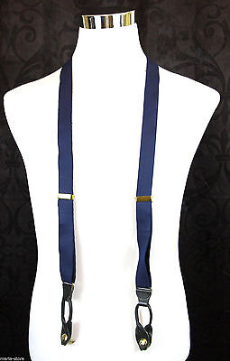 BLUE BLACK LEATHER COMBINATION BUTTON-ON CLIP-ON Y-BACK ELASTIC SUSPENDERS (68A)