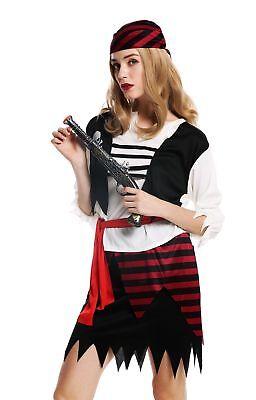 Kostüm Damen Frauen Karneval Halloween Piratin Seeräuberin Gr. S/M W-0003 (Weibliche Piraten Halloween Kostüme)