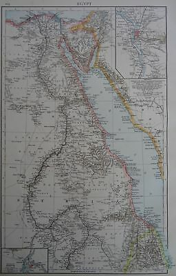 Victorian Map 1896 of EGYPT The Times Atlas 1st Gen
