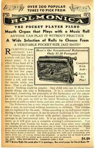 1941 small Print Ad of The Rolmonica Player Harmonica pocket player piano
