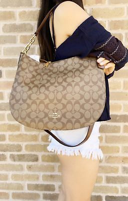 Coach F39527 Elle Hobo Top Zop Shoulder Bag Khaki Signature Saddle Top Hobo Purse