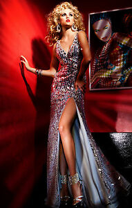 $790 BRAND NEW NWT TONY BOWLS TBE11241 PAGEANT GOWN PROM DRESS SILVER STONED 0