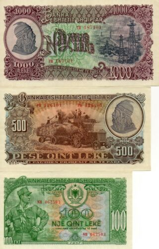 ALBANIA Europe Set of 3 UNC banknotes 100 500 1000 Leke 1957 UNC
