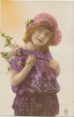 YOUNG GIRL WEARING HAT ANTIQUE RPPC PHOTO POSTCARD HAND TINTED FASHION ART DECO