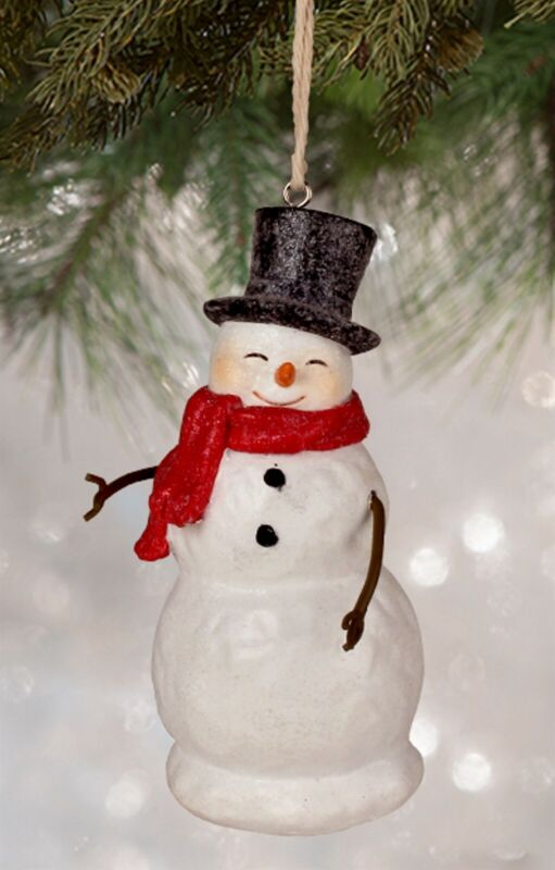 "Bethany Lowe Traditional SMILEY SNOWMAN Ornament 4"" KL7556"
