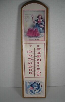 "Wooden JELL-O Thermometer Sign Wood Advertisement (18"" x 4.75"") JELLO Vintage"