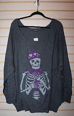 Plus Size Skeleton Shirt (NEW WOMENS PLUS SIZE  GRAY SKULL 5X 5 SKELETON IS COLD RAGLAN SWEATER SHIRT)