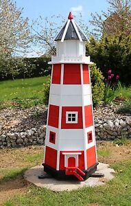 XXL Leuchtturm, Leuchttürme Garten aus Holz mit Beleuchtung 1,40m rot/weiß