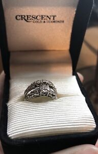White gold engagement and wedding rings