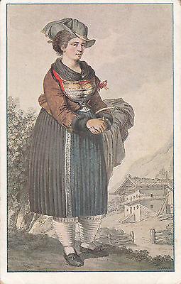 Postkarte - Bäuerin aus dem Inntal / tracht