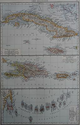Victorian Map 1896 of THE ANTILLES The Times Atlas 1st Gen
