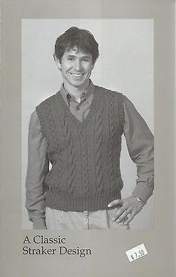 Geoffrey Vest V-Neck Sweater Knitting Pattern Peggy Straker #760-V Men's 34