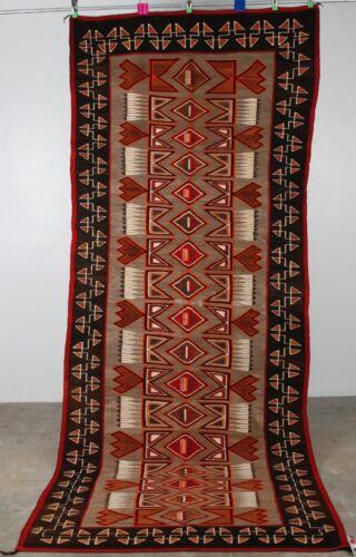 Early Navajo rug blanket Native textile weaving Red Mesa Huge runner Feathers