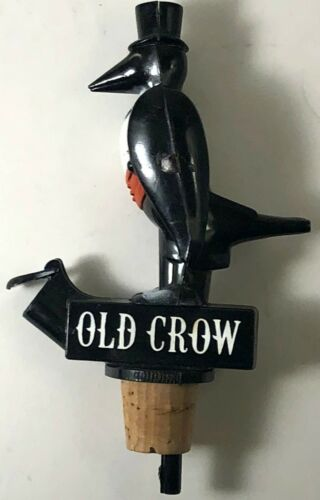 Vintage OLD CROW Whiskey Pour Spout Bottle Topper Bar UNUSED