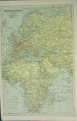 1912 LARGE ANTIQUE MAP ~ EUROPE & AFRICA ~ SHOWING RAILWAYS & STEAMSHIP ROUTES