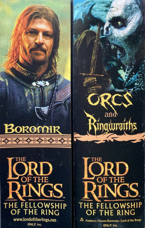 Promo Lord of the Rings Boromir Orcs 2-sided bookmark The Fellowship of the Ring