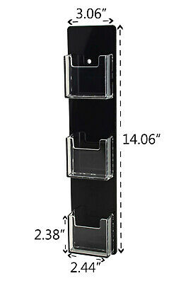 Business Card Holder 3 Pocket Vertical Wall Mount Clear Wblack Backing