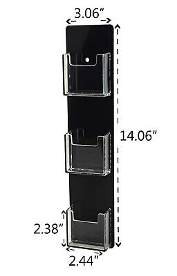 Business Card Holder 3 Pocket Vertical Wall Mount Clear Wblack Backing