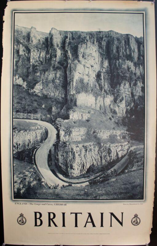 c. 1950 England The Gorge and Caves Cheddar UK Travel Poster Vintage Original