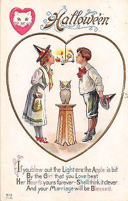 Bobbing For Apples Halloween (c.1910 Boy & Girl Bobbing for Apples on Chandelier Owl Halloween post)