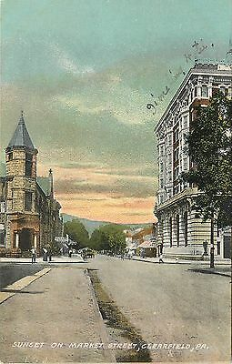 1907 1915 Chromolitho Postcard  Sunset On Market Street  Clearfield Pa Unposted