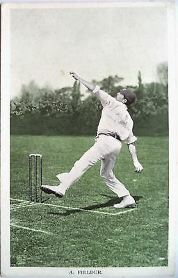 "ARTHUR FIELDER KENT & ENGLAND 1907 ""IN THE OPEN"" RAPH TUCK CRICKET POSTCARD"