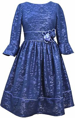 Big Girls Tween 7-16 Navy-Blue Bell Bonded Lace Social Party Dress, Bonnie (Tween Party Kleider)