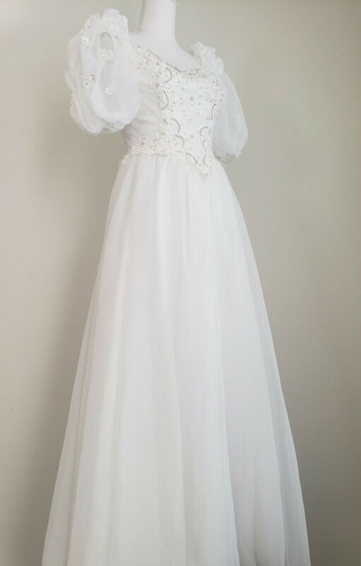 Vintage 80s Organza Puff Sleeve Bridal Gown, Victorian Style Wedding Dress SZ 8