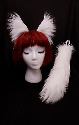 "White Arctic Fox Wolf Cat Dog Ears- 13"" Tail Set, Extra Long Soft Fashion Fur"