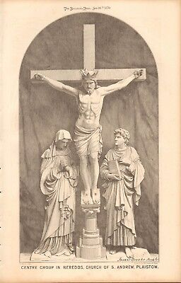 1870 ANTIQUE ARCHITECTURE, DESIGN PRINT-CENTRE GROUP IN REREDOS,CHURCH, PLAISTOW