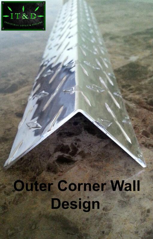 """.063 (2"""" x 2"""" x 48"""") Aluminum Diamond Plate Tread Brite Outer Corner Guard Angle"""