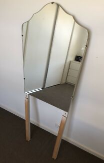 Antique stand alone mirror Art Deco shape