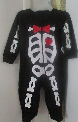 NWT infant baby Halloween costume skeleton bones sleep & play newborn 5-7.5 lbs