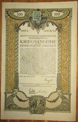 ÖSTERREICH AUSTRIA 3. Kriegsanleihe 100 Kronen 1915 Austrian War Loan