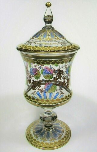 Antique European Bohemian Enameled Glass Lidded Compote Heckert Pautsch Moser??