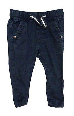 Boys Navy Linen Trousers (Baby Boys Next Navy Blue Linen Elasticated Waist Trousers Age 3-6)